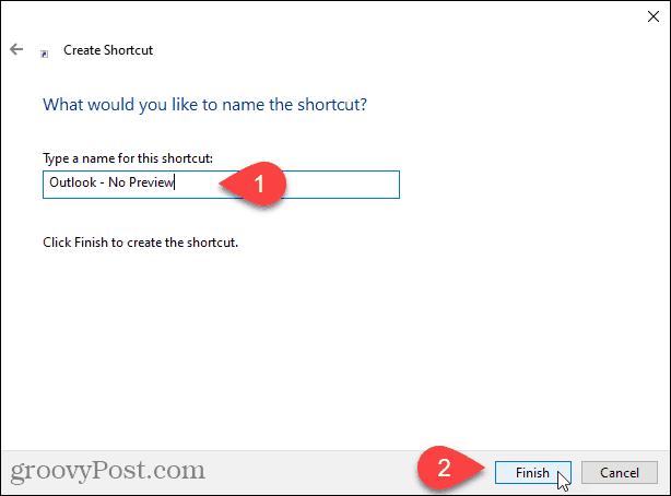 Enter a name for the shortcut