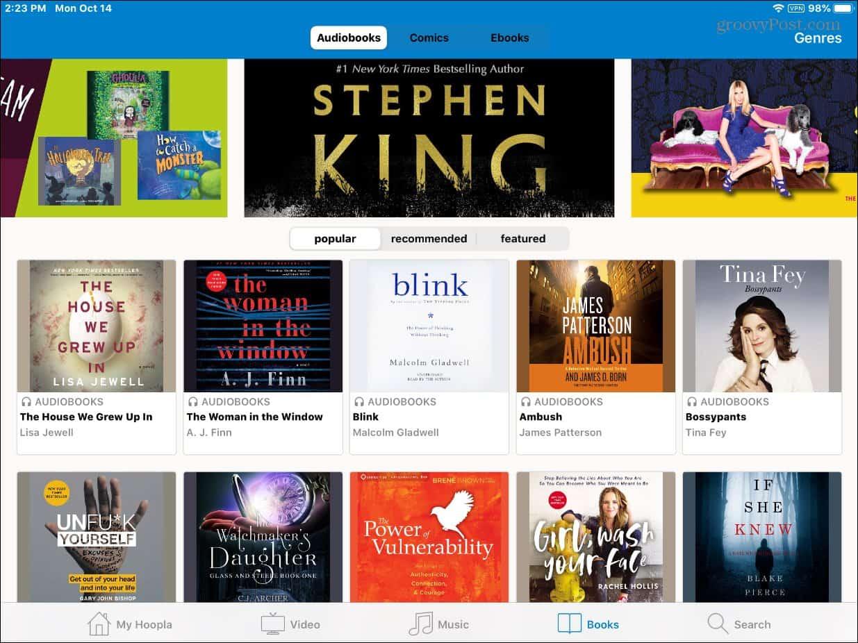 Hoopla Audiobooks iPad