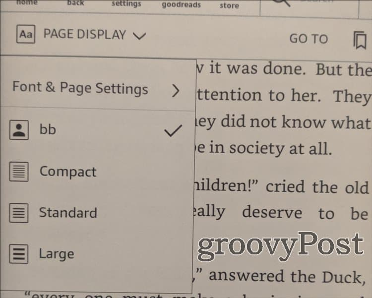 Kindle Custom fonts Font and page settings
