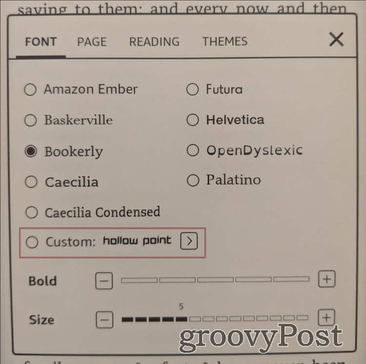 Kindle Custom fonts Font custom select