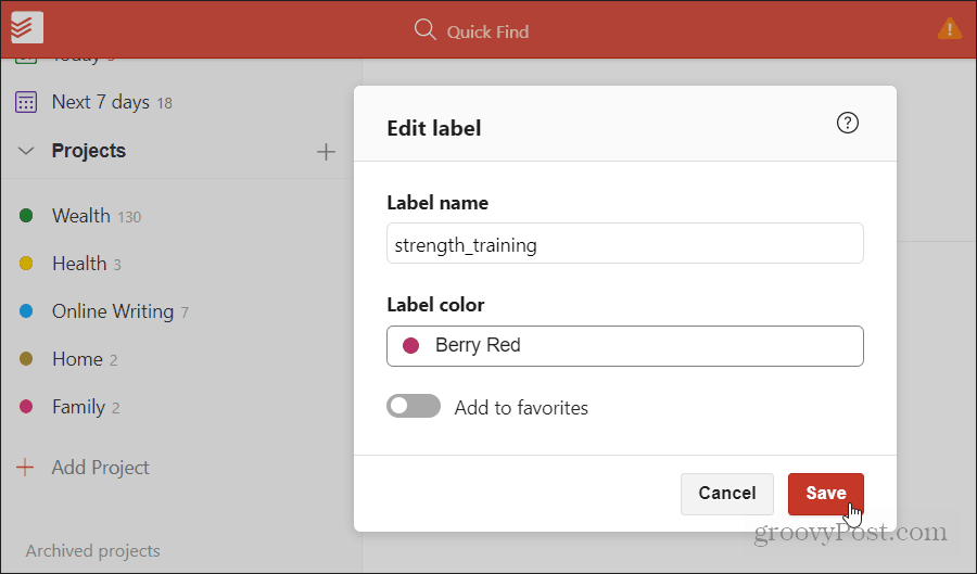 applying colors to labels