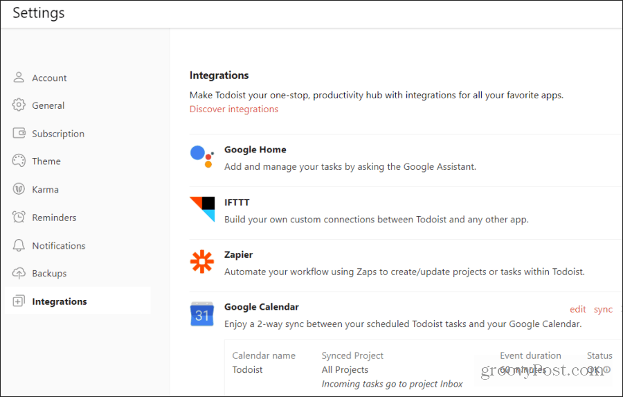 todoist google calendar integration