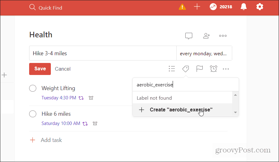 applying labels to tasks in todoist