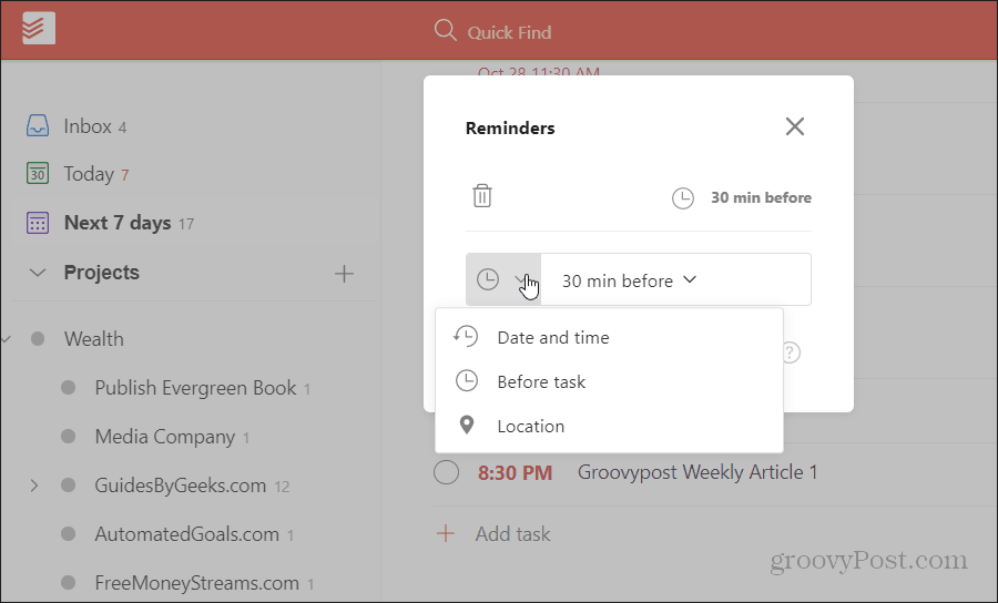 todoist location based reminder setup