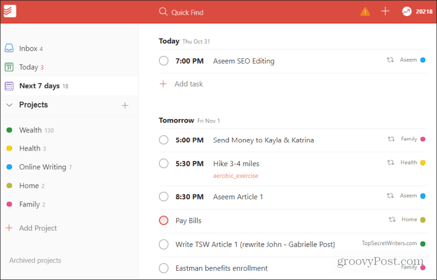 viewing tasks in todoist
