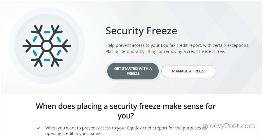Equifax security freeze page