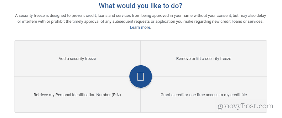 adding an experian security freeze