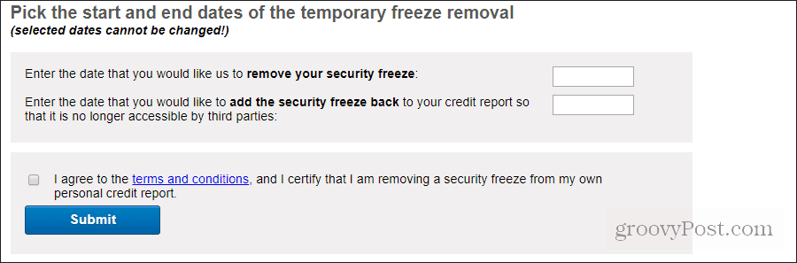 experian temporary freeze removal