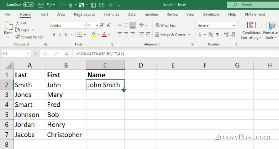 using concatenate for names in Excel