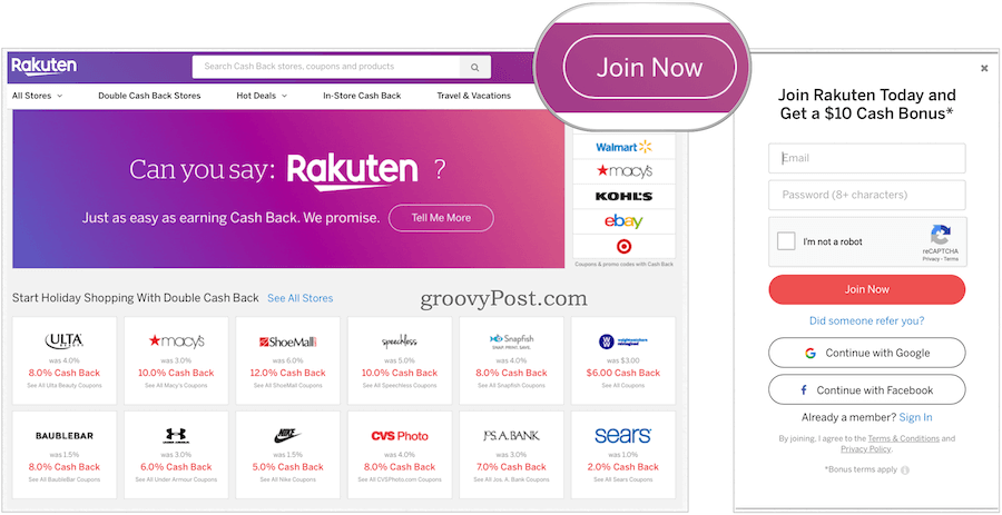 Rakuten Rewards Create Account
