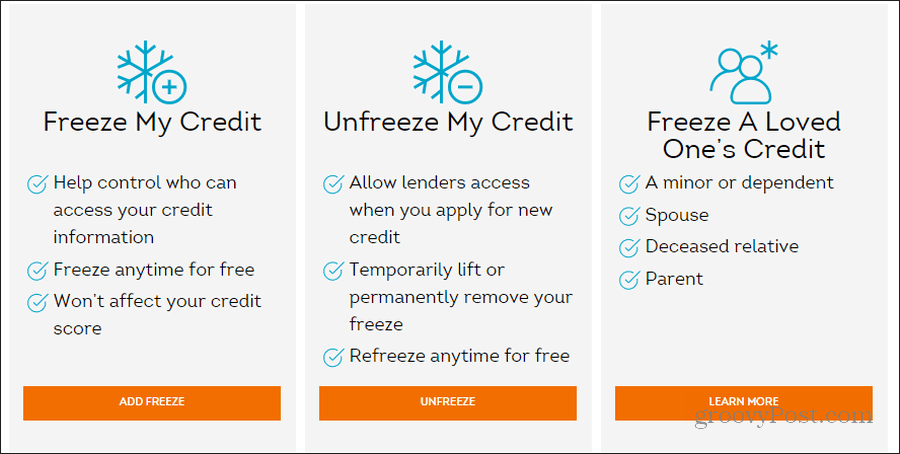 transunion security freeze page