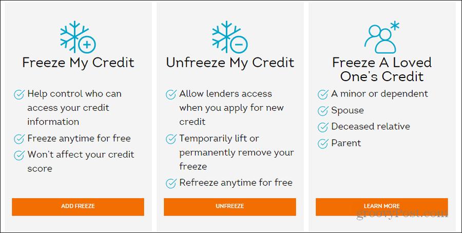 transunion security freeze page