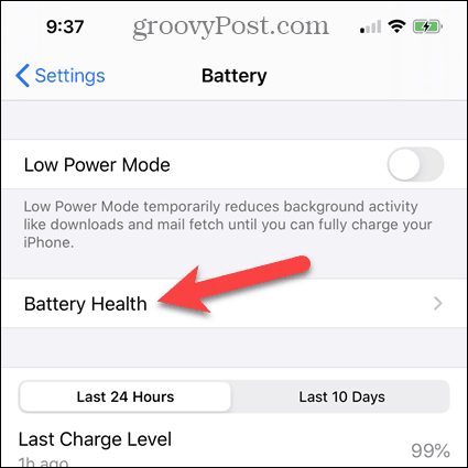 Tap Battery Health on the iPhone Battery screen