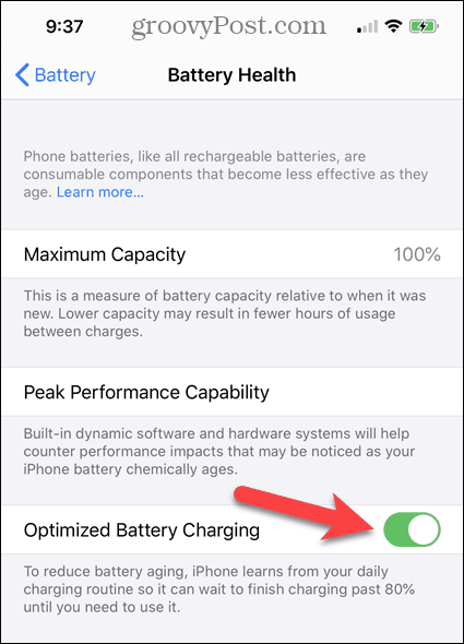 Enable or disable Optimized Battery Charging on the iPhone Battery Health screen