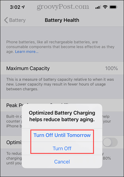 Turn off options for Optimized Battery Charging on iPhone