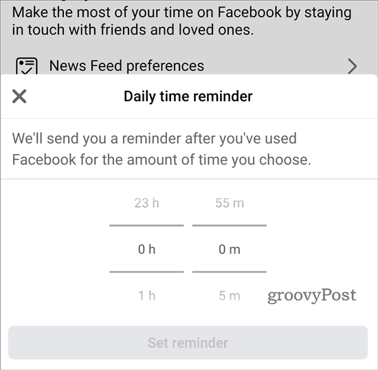 Your Time on Facebook set reminder