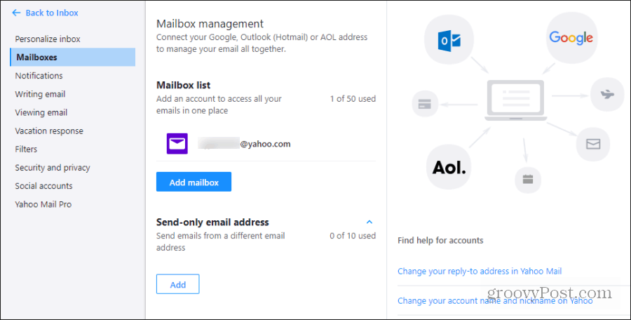 add mailbox to yahoo