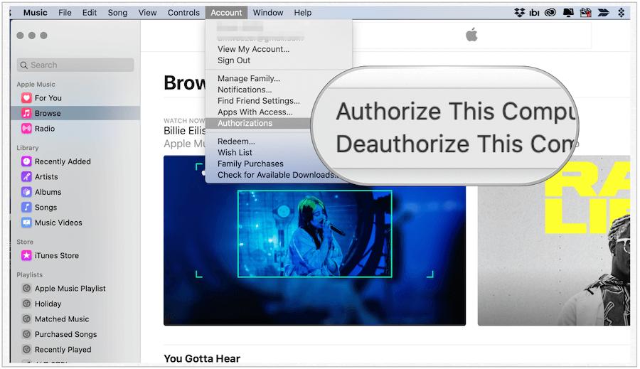 Deauthorize your computer