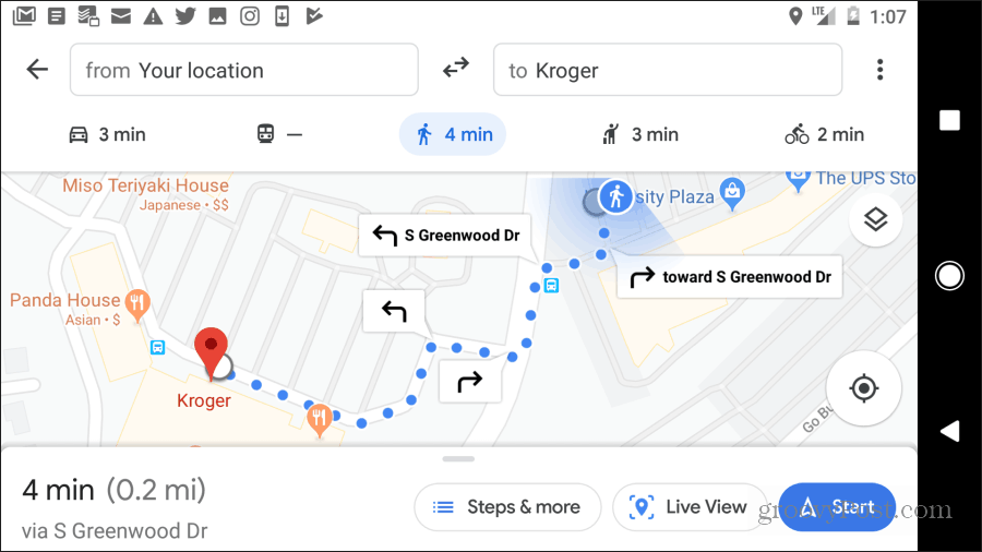 google maps walking directions