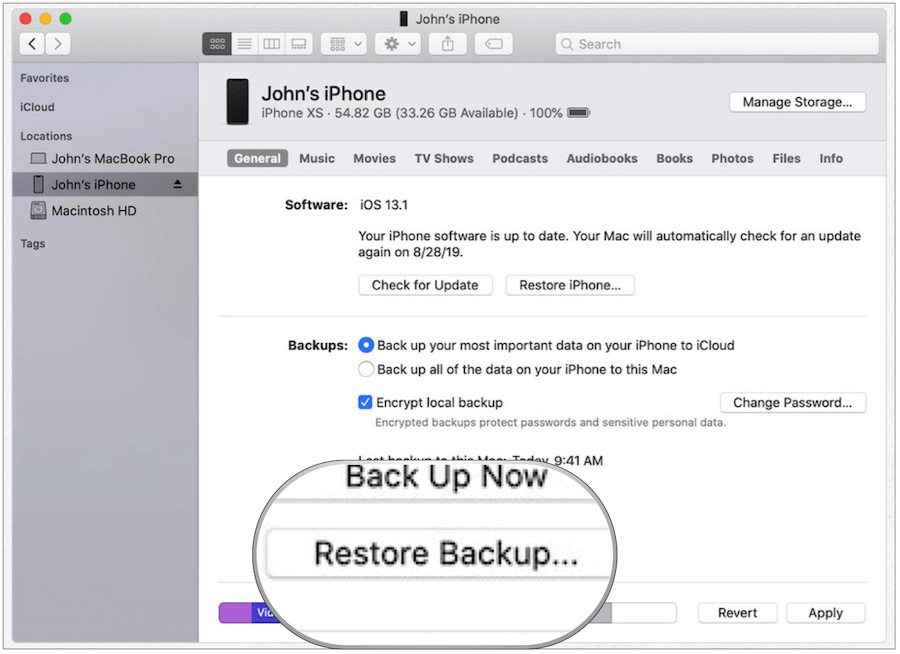 restore from iTunes