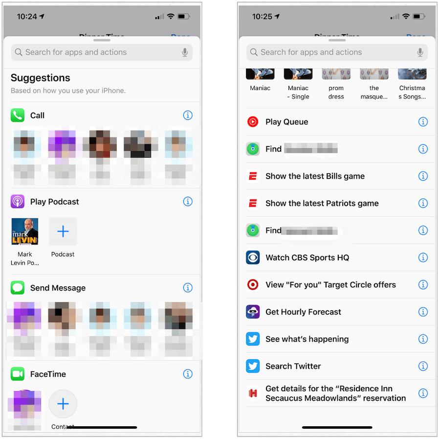 Siri suggestions