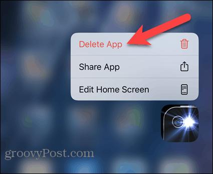 Tap Delete App on iPhone popup menu