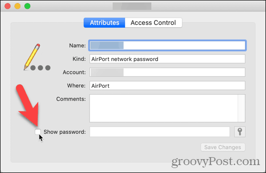 Click Show password check box in Keychain Access