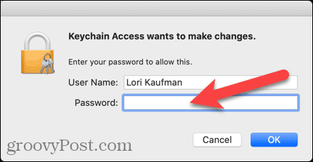 Enter user name and password for Keychain Access