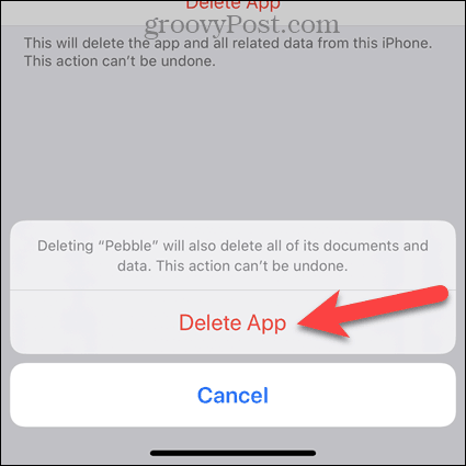 Tap Delete App on iPhone confirmation dialog