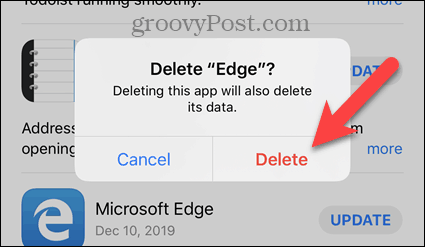Tap Delete on iPhone confirmation dialog