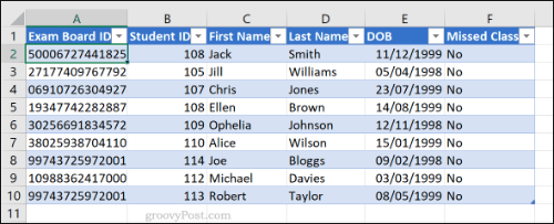 Drilled down data from an Excel pivot table