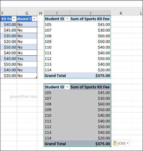 A duplicated pivot table in Microsoft Excel