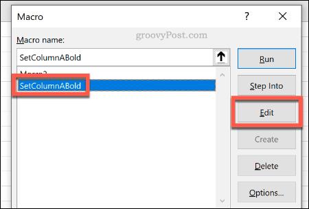 Editing an Excel Macro