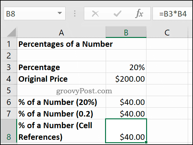 Percentages of a number, shown in Microsoft Excel