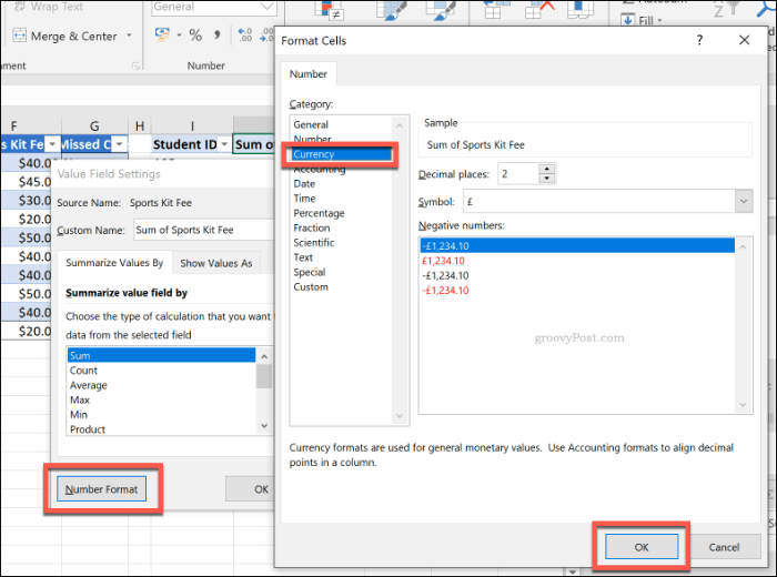 Cell number formatting options for a pivot table in Excel
