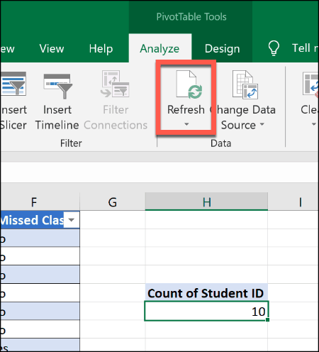 Refreshing a Pivot Table in Excel