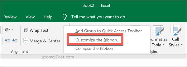 The Excel ribbon bar customization menu