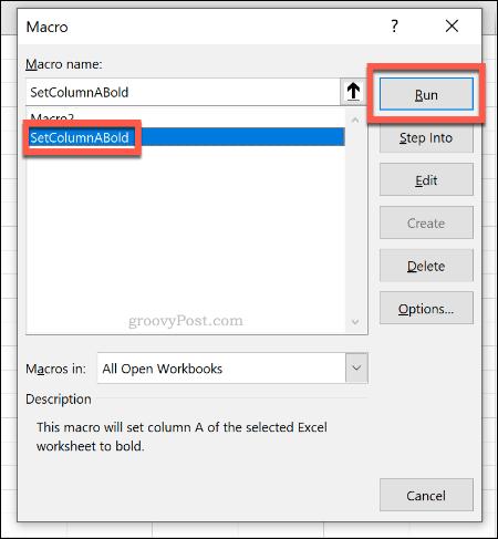 The macro selection menu to run a macro in Excel