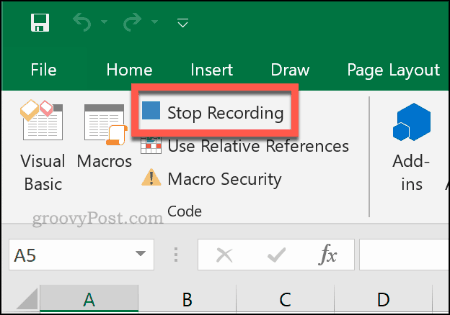 The Stop Recording button to stop a macro recording in Excel