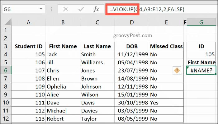 A misspelt VLOOKUP formula in Excel, returning a NAME error