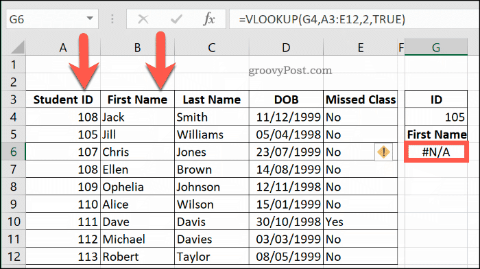 Another example of an NA Error with VLOOKUP in Excel, due to a data range not being sorted properly