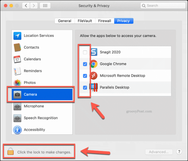 Apps with access to the camera on macOS
