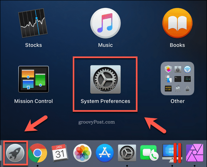 Launching System Preferences from the Launchpad on macOS