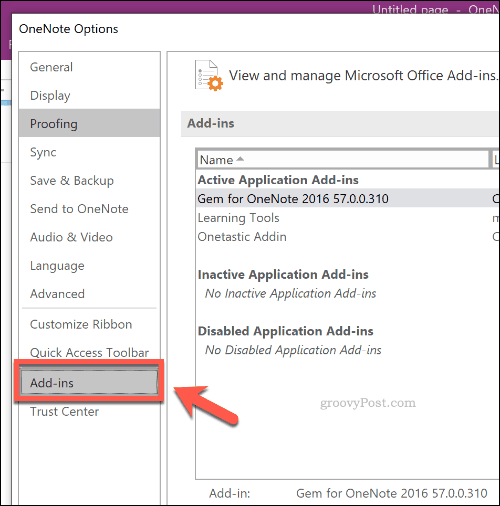 Add In Options for OneNote