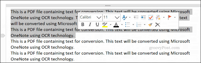 Text copied from a file printout image in OneNote