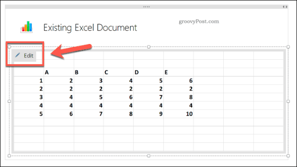 Editing an existing Excel spreadsheet in OneNote
