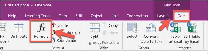 Inserting an Excel formula using the Gem for OneNote add-in in OneNote