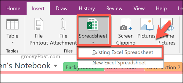Inserting an existing Excel spreadsheet into OneNote