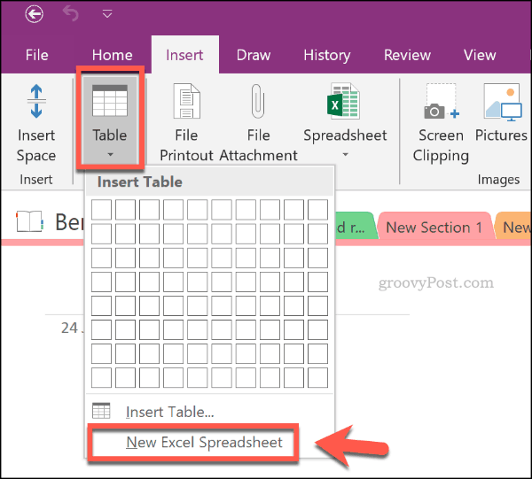 Insert new Excel spreadsheet in OneNote