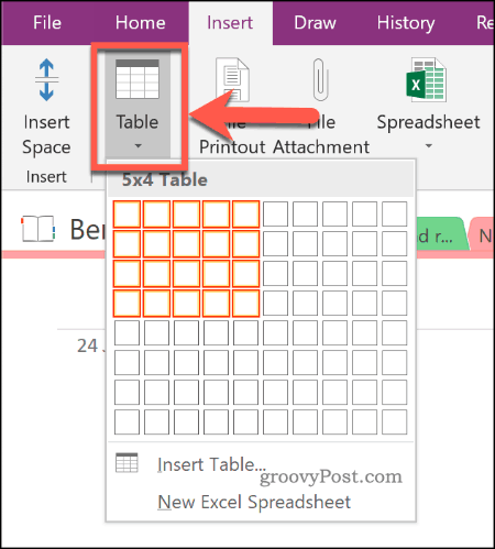 Inserting a new table in OneNote